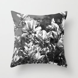 Black And White Flowers In The Sun Throw Pillow