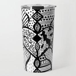 Free Hand Drawn Heart with Random Patterns Travel Mug
