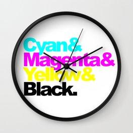 Cyan and Magenta and Yellow and Black, circle Wall Clock