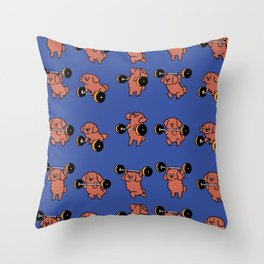 Olympic Lifting  Poodle Throw Pillow