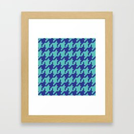 Houndstooth - Blue & Turquoise Framed Art Print