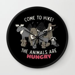 Come to Hike! The animals Are Hungry Wall Clock