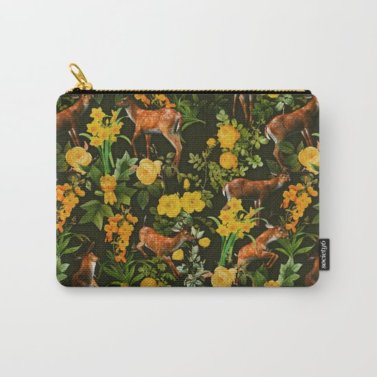 Deer and Floral Pattern Carry-All Pouch