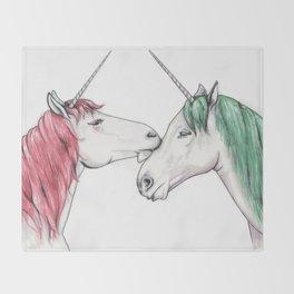 Unicorns in love III Throw Blanket