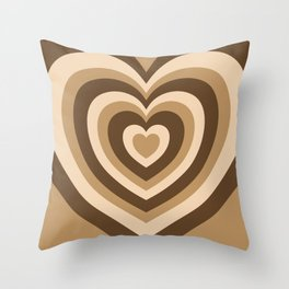 Aesthetic Hypnotic Brown Hearts Throw Pillow
