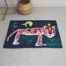 Toucan and Tiger in the Night Sky Painting Rug