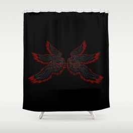 Archangel Lucifer with Wings Black Shower Curtain