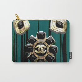 vintage coco jewlery gold glamour fashion green Carry-All Pouch