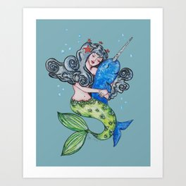 narwhal and mermaid best friends forever Art Print