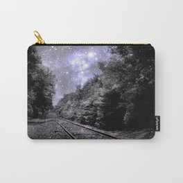 Train Tracks Next Stop Anywhere Periwinkle Gray Carry-All Pouch