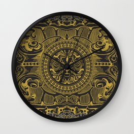 Medallion Lion Black Gold Wall Clock