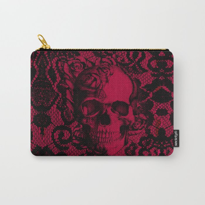 Gothic Lace Skull in red and black. Carry-All Pouch