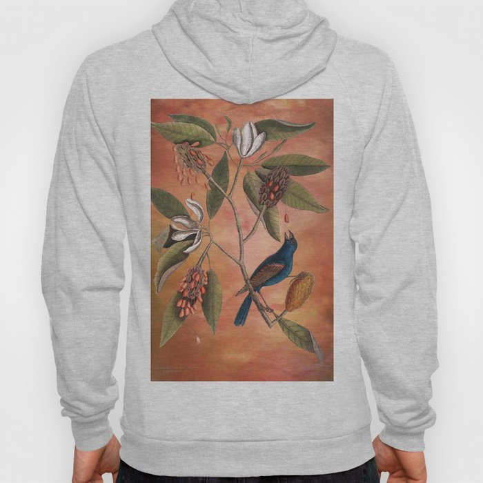 Blue Grosbeak with Sweetbay Magnolia, Vintage Natural History and Botanical Hoody