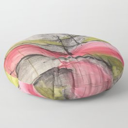 Pink Landscape. Color of Japan. Original Painting by Jodi Tomer. Abstract Artwork. Floor Pillow
