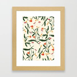 Mushrooms and Flowers Hanging Out Framed Art Print