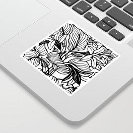 White And Black Floral Minimalist Sticker