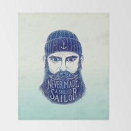 CALM SEAS NEVER MADE A SKILLED (Blue) Throw Blanket