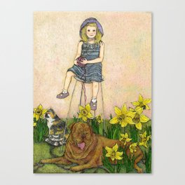 Girl with Daffodils: Don't Forget Me.  Canvas Print