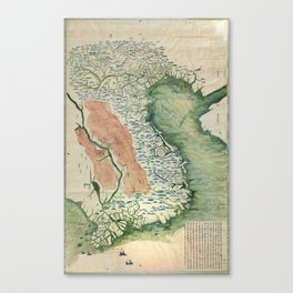 Yuenan Quan Jing Yu Tu (Map of Vietnam circa 1885) Canvas Print