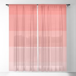 Living Coral Gradient Stripes Sheer Curtain