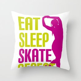 Eat Sleep Skate Repeat Funny Gift for Rollers Throw Pillow