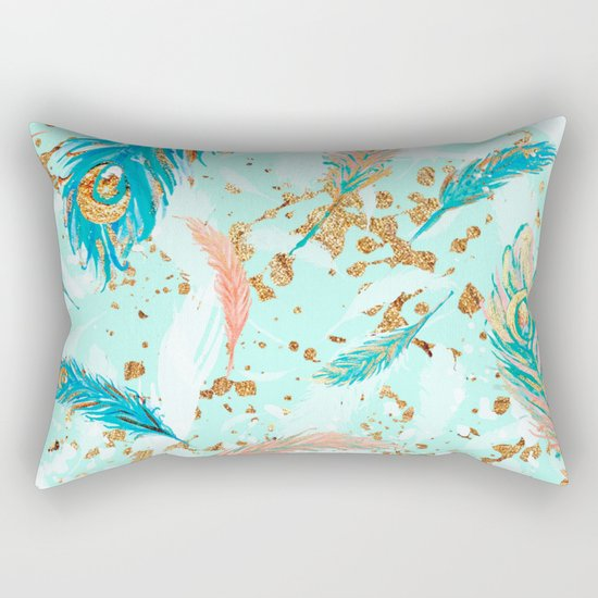 Feather peacock peach mint #1 Rectangular Pillow