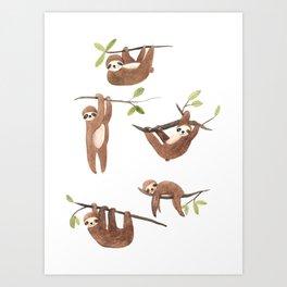 Lazy sloth Art Print