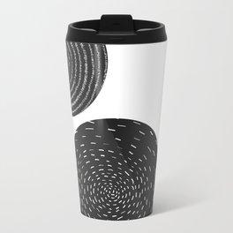 Back and White Retro Mod Flowers by Friztin Travel Mug