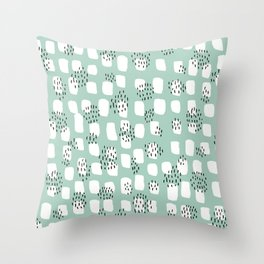 Spotted series abstract dashes and dots mint black and white raw paint texture Throw Pillow