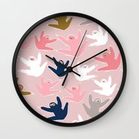 sloths Wall Clocks featuring Pattern with sloths by Darish