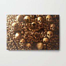 Bones and Skulls in Paris, France catacombs Metal Print