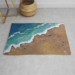 Seashore. Ocean. Sandy Beach. Original Oil painting by Luna Smith, LuArt Gallery Rug