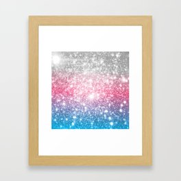 Galaxy Sparkle Stars Cotton Candy Framed Art Print