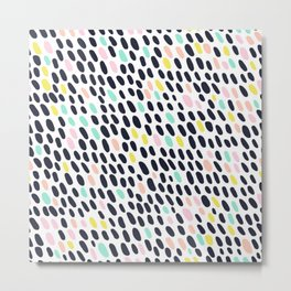 ABSTRACT PASTEL CONTRAST POLKA DOT BRUSH STROKE PATTERN Metal Print