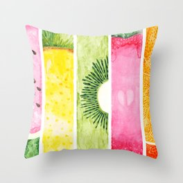 Summer Fruits Watercolor Abstraction Throw Pillow