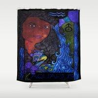 aquarius Shower Curtains featuring Aquarius by Laura Jean