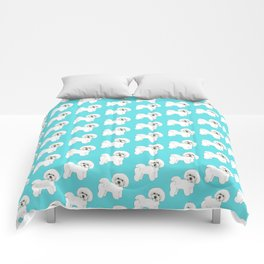 Bichon Frise on aqua / teal / cute dogs/ dog lovers gift Comforters