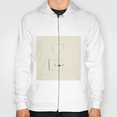 ANALOG zine, Retro white music cassette and blue heart shaped tape on beige background Hoody