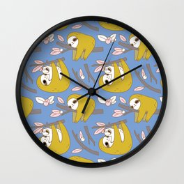 Sloth pattern in blue Wall Clock
