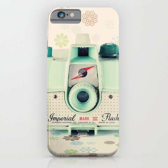 Mint Retro Film Camera on Beige - Cream Pattern Background  iPhone & iPod Case
