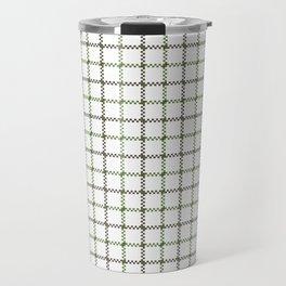 Fern Green & Sludge Grey Tattersall on White Background Travel Mug