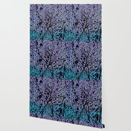 Tangled Tree Branches in Blue and Teal Wallpaper