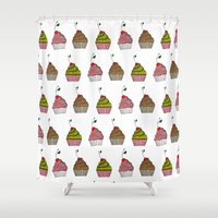 cupcakes Shower Curtains featuring cupcakes by Alvina F.
