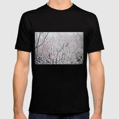 Winter Snow  Black LARGE Mens Fitted Tee