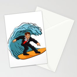 Businessman surfing on wave Stationery Cards