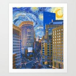 Boston Massachusetts Skyline and Starry Night Art Print
