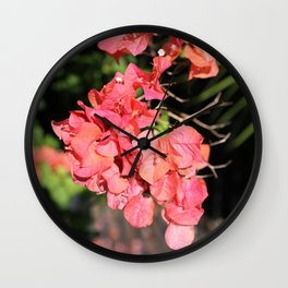 Hot Coral Floral Wall Clock