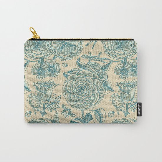 Garden Bliss - in teal & cream Carry-All Pouch