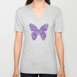 Purple and faux silver swirls doodles Unisex V-Neck