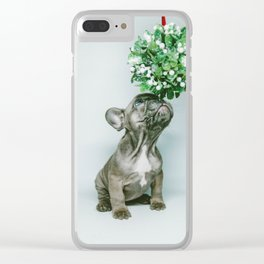 Christmas Pup Under Mistletoe (Color) Clear iPhone Case